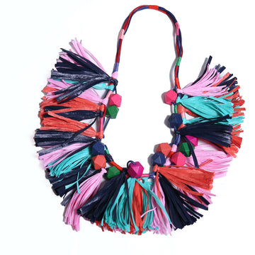 Fana Raffia Fringed Necklace