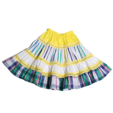 Patchwork Tiered Pull On Skirt