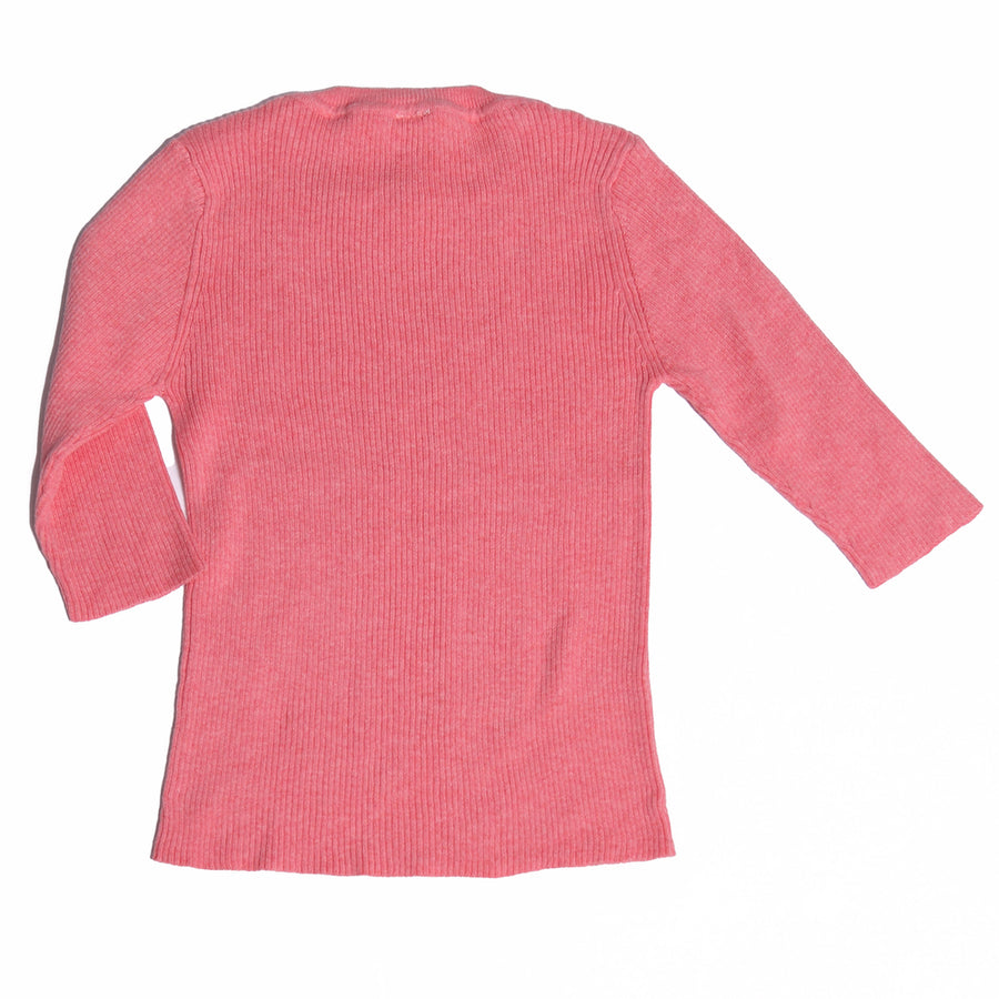 3/4 Sleeve Ribbed Crew Neck