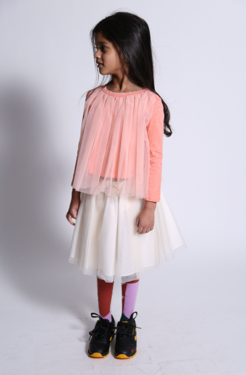 Classic Tulle Overlay T-Shirt
