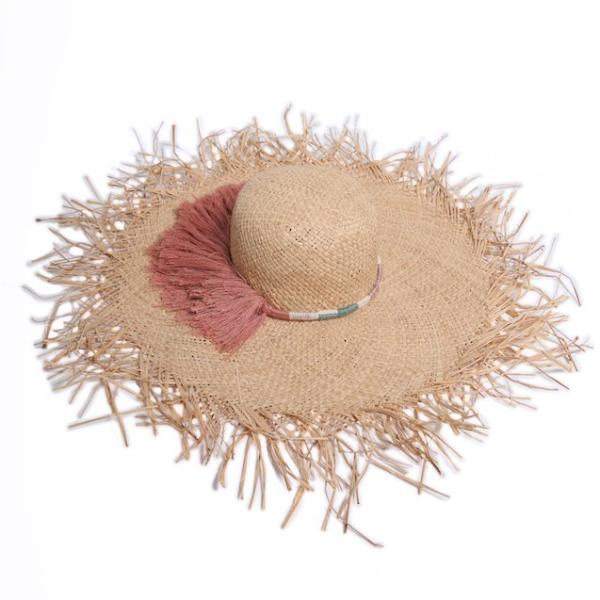 Womens Sarah Thatched Fringe Sunhat