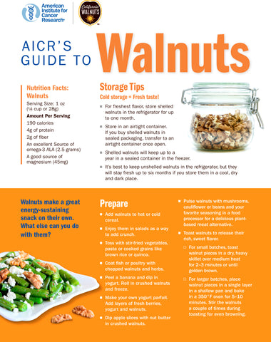 INSTANT DOWNLOAD: AICR'S Guide to Walnuts FREE factsheet