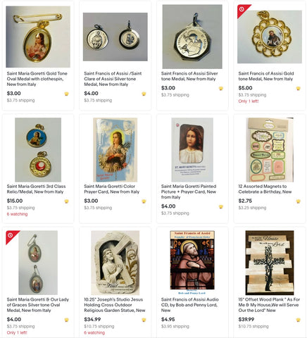 Bob and Penny Lord Ebay store - statues, prayer cards, medals