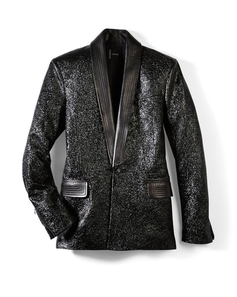 Black Metallic Tweed Leather Tuxedo