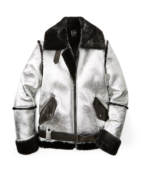 Silver/Black Aviator Shearling Jacket