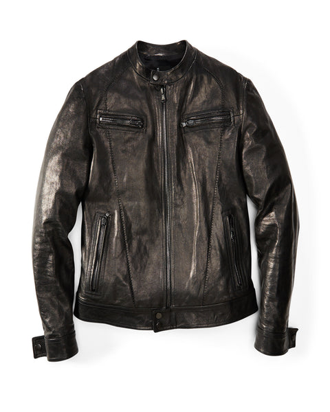 "Black ""Scar"" Leather Moto Jacket"