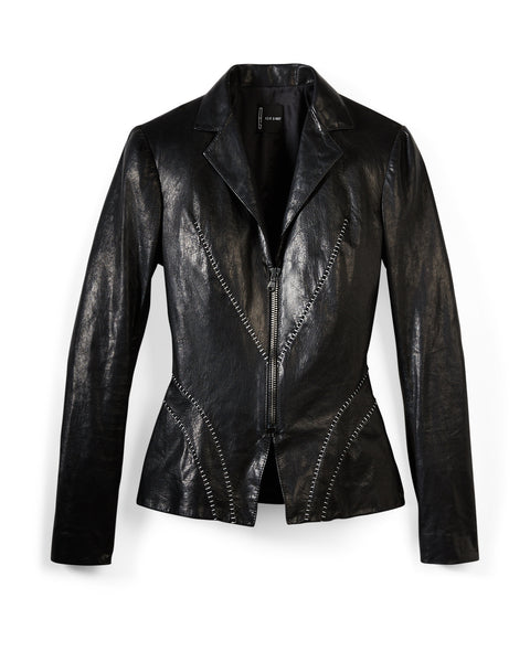 "Catwoman Black Leather Silver ""Scar"" Biker/Blazer"