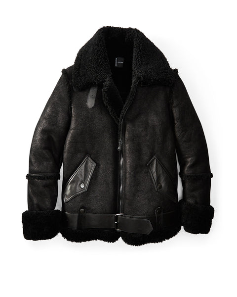 Black Metallic Aviator Shearling Jacket