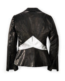 Black Leather Biker/Blazer with Silver Panel