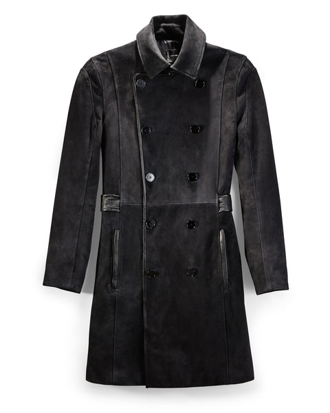 Black Suede and Leather Tipped Military Coat