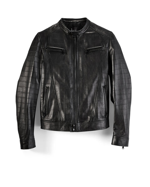 Black Leather LASER Squares Moto Jacket