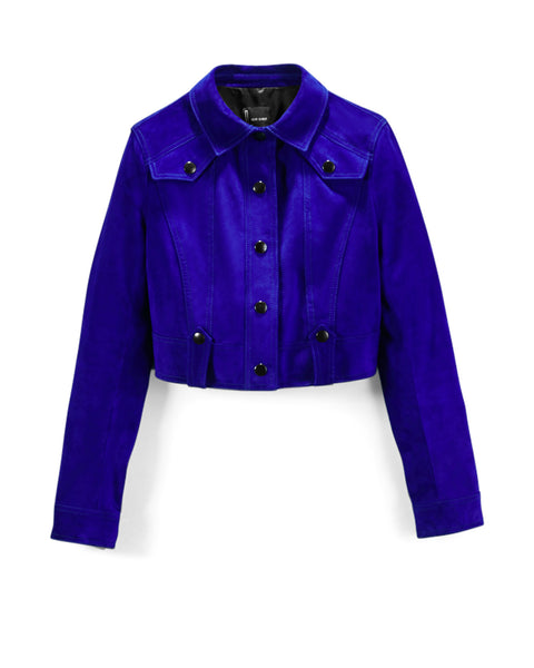 Electric Cobalt Suede Cropped Western Jacket