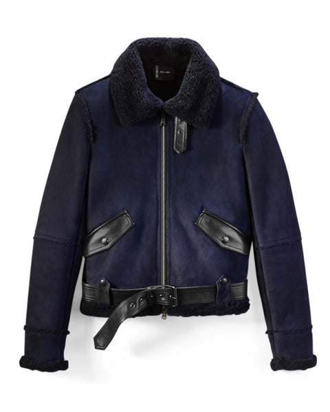 Navy Suede/Curly Shearling Aviator Jacket