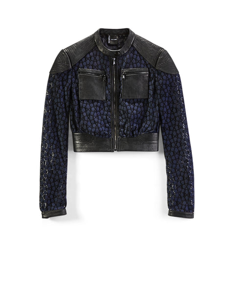 Black Leather/Navy Lace Moto