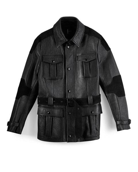Black Pebble Leather/Suede Utility Coat
