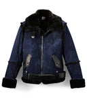 Navy Suede/Black Aviator Shearling Jacket