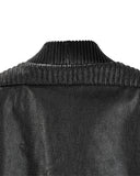 Black Leather Double Rib Bomber Jacket