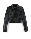 "Metallic Charcoal ""Sea Shell"" Cropped Western Jacket"