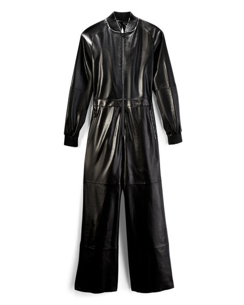 Black Leather Bomber Jumpsuit