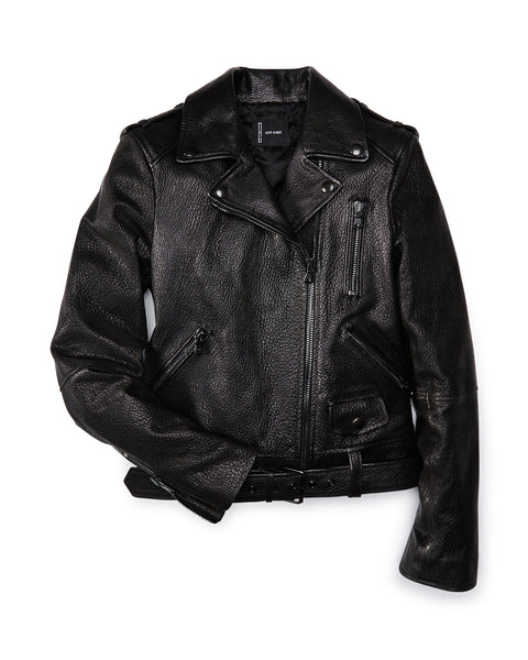 Black Pebble Leather Biker Jacket