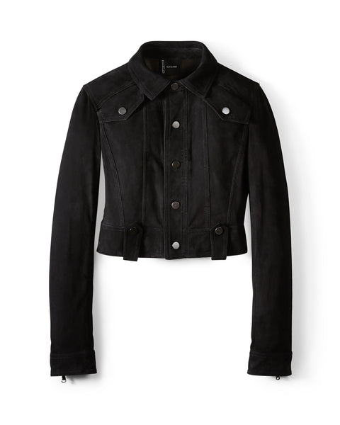 Black Suede Cropped Western Jacket