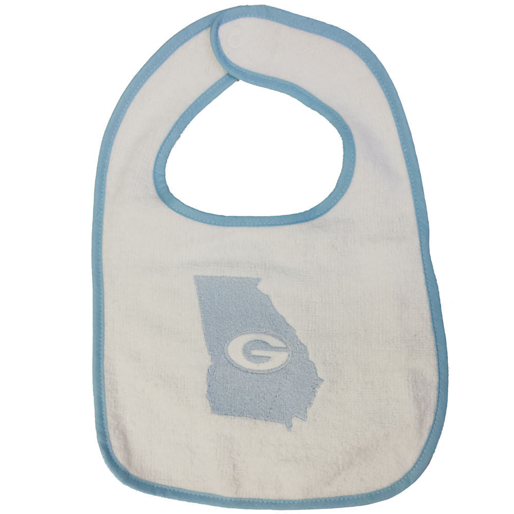 Georgia Bulldogs Super G State White-Carolina Blue Newborn & Infant Snap Bib