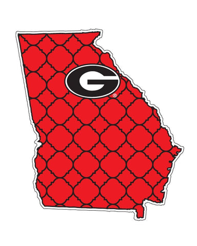 Georgia Bulldogs UGA Quatrefoil State Decal Sticker 4""