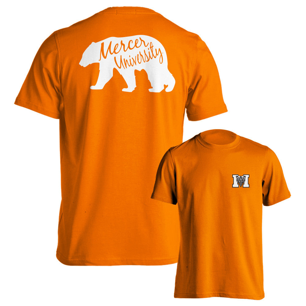 Mercer Bears MU Bear Silhouette LONG Sleeve Adult Orange T-Shirt