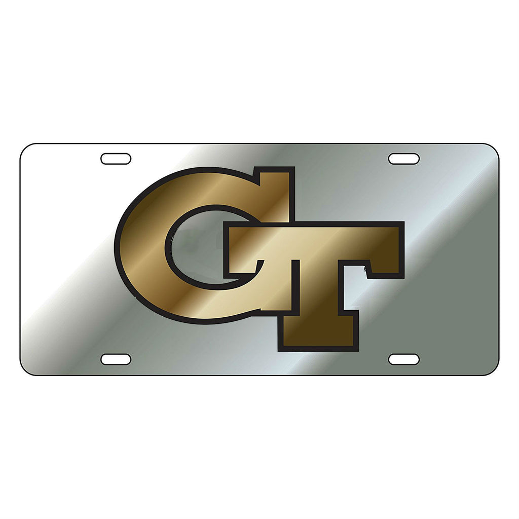 Georgia Tech Yellow Jackets GT Laser Cut Inlaid Silver-Black-Gold License Plate