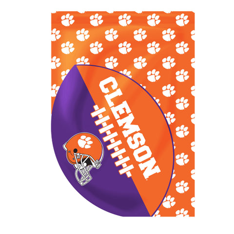 Clemson Sports Cut Football House Flag