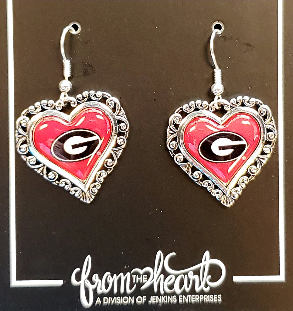 Heart Shaped GA Bulldog Earrings