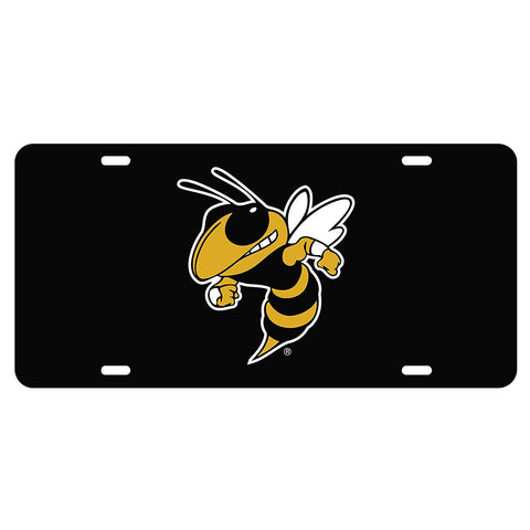Georgia Tech Yellow Jackets GT Buzz Reflective Black License Plate