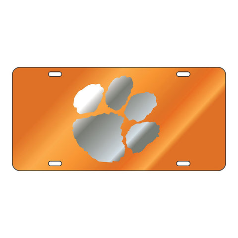 Clemson Tigers Paw Laser Cut Inlaid Orange Silver License Plate