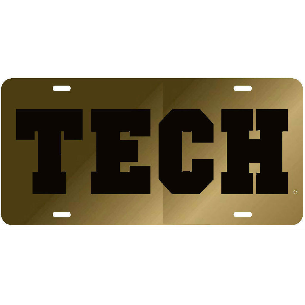 Georgia Tech Yellow Jackets GT Tech Laser Cut Inlaid Gold-Black License Plate