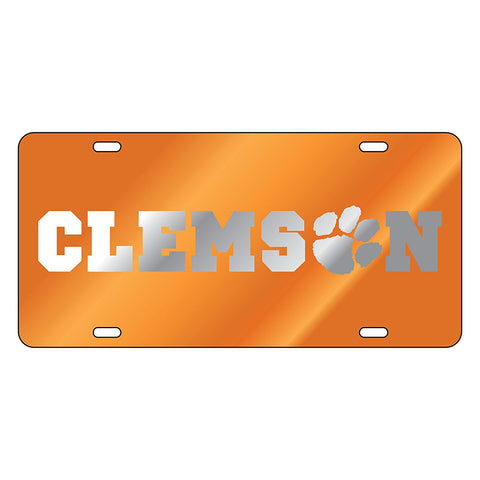 Clemson Tigers Laser Cut Inlaid Orange Silver License Plate