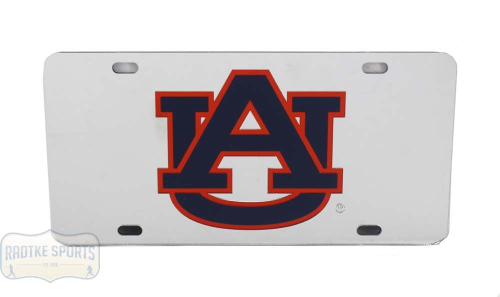 Auburn Laser Silver/ Blue & Orange Logo Mirrored License Plate