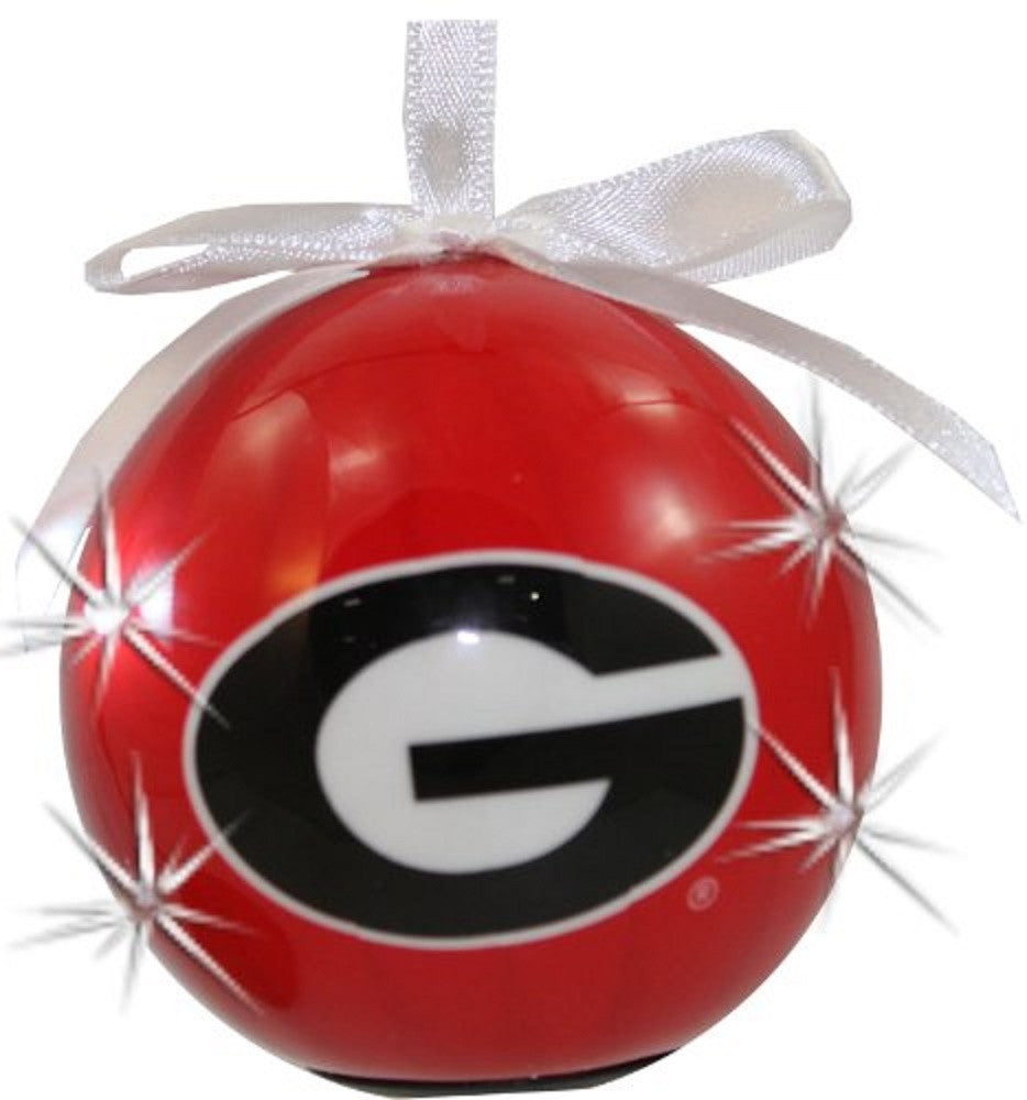 Georgia Bulldogs UGA Red LED Flashing Ball Christmas Ornament