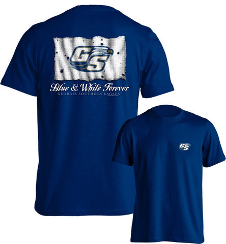 Georgia Southern University Eagles GSU Blue & White Forever Short Sleeve T-Shirt Multiple Sizes