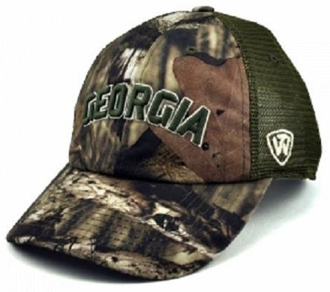 University of Georgia Bulldogs UGA Top Of The World Camo Trucker Hat