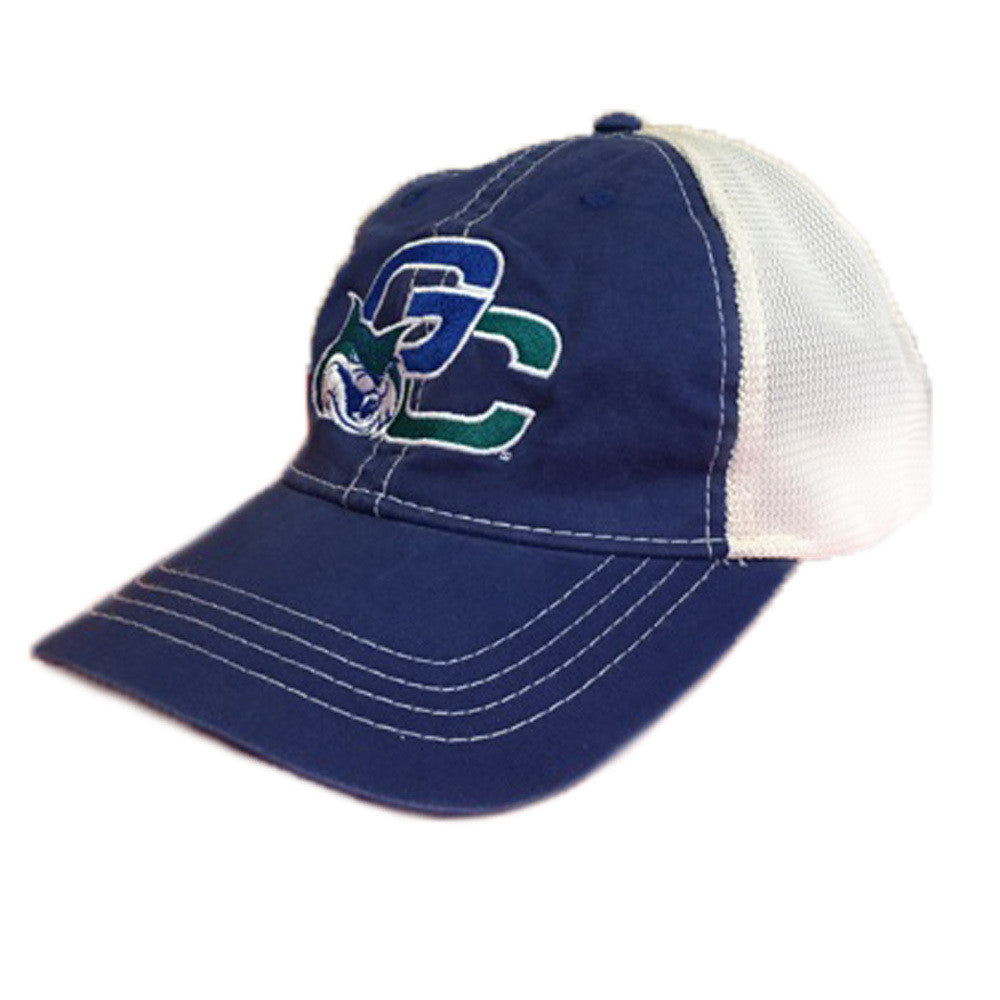 Georgia College GCSU Bobcats Unstructured Vintage Trucker Mesh Royal/Ivory Cap Hat