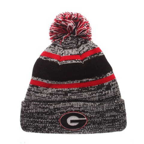 Georgia Bulldogs UGA Zephyr NCAA Granite Knit Black-Red-White Beanie