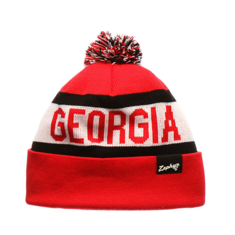 Georgia Bulldogs UGA Zephyr NCAA Football Knit Red-Black-White Beanie