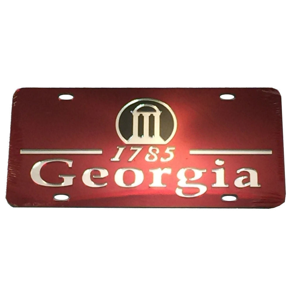 Georgia Bulldogs UGA 1785 Arch Laser Cut Inlaid Mirror Red License Plate
