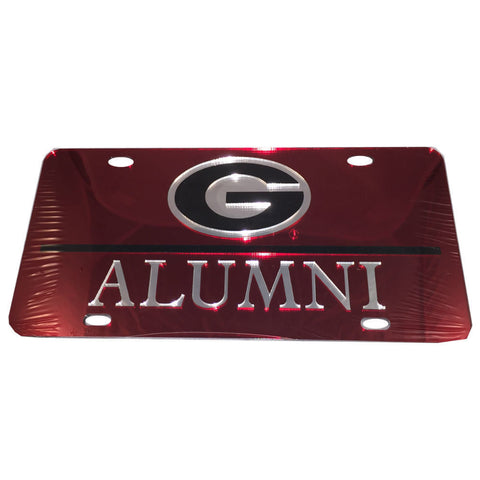 Georgia Bulldogs UGA Alumni Laser Cut Inlaid Mirror Red License Plate
