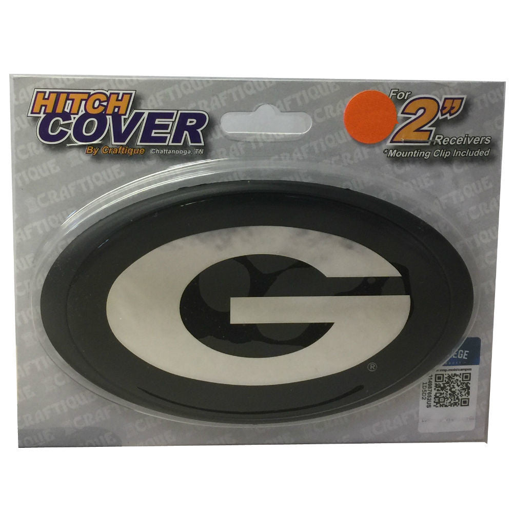 Georgia Bulldogs UGA Mirror Oval Super G Black Silver Hitch Cover