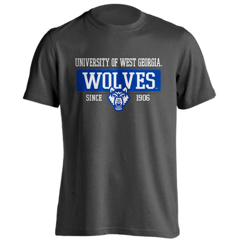 West Georgia Wolves Since 1906 Charcoal Adult Short Sleeve T-Shirt