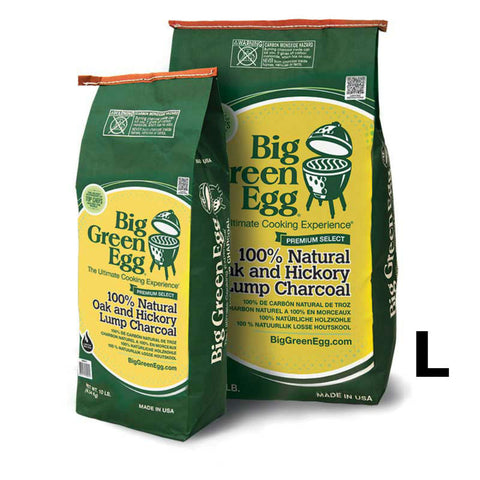 BGE Big Green Egg Premium Made in the USA 100% Natural Oak and Hickory Lump Charcoal 20lb