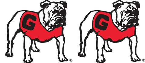 "Georgia Bulldogs 2"" UGA Standing Bulldog Decal Sticker 2 Pack"