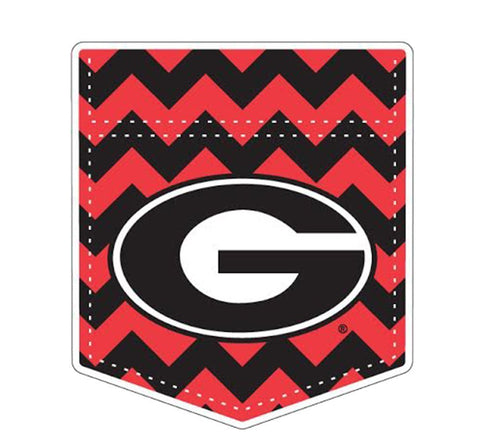 "Georgia Bulldogs 4"" UGA Chevron Pocket Super G Decal Sticker"