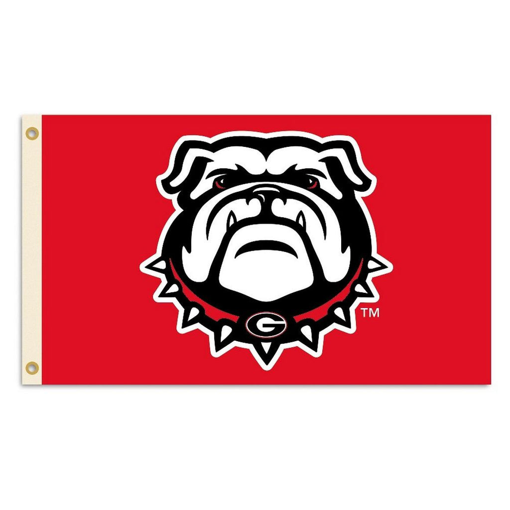 UGA Bulldog Head 3' X 5' Premium Red Flag